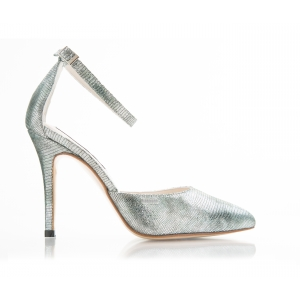 Bijou Irene - Silver Leather Court Shoe