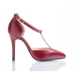 Bijou Marion - Bordeaux 'T' Bar Court Shoe